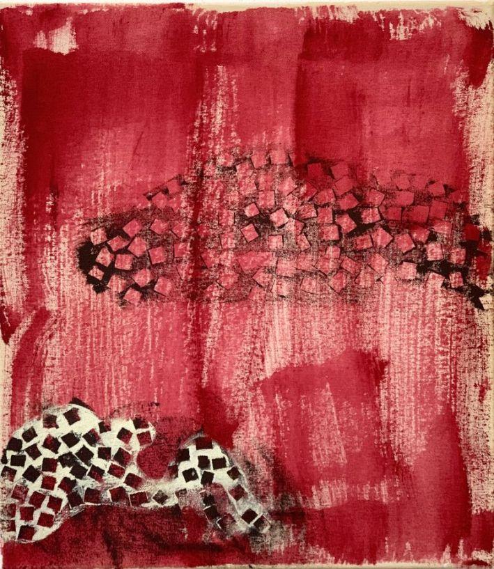 V_02 - acrylic, ink on canvas (37 x 42), 2020