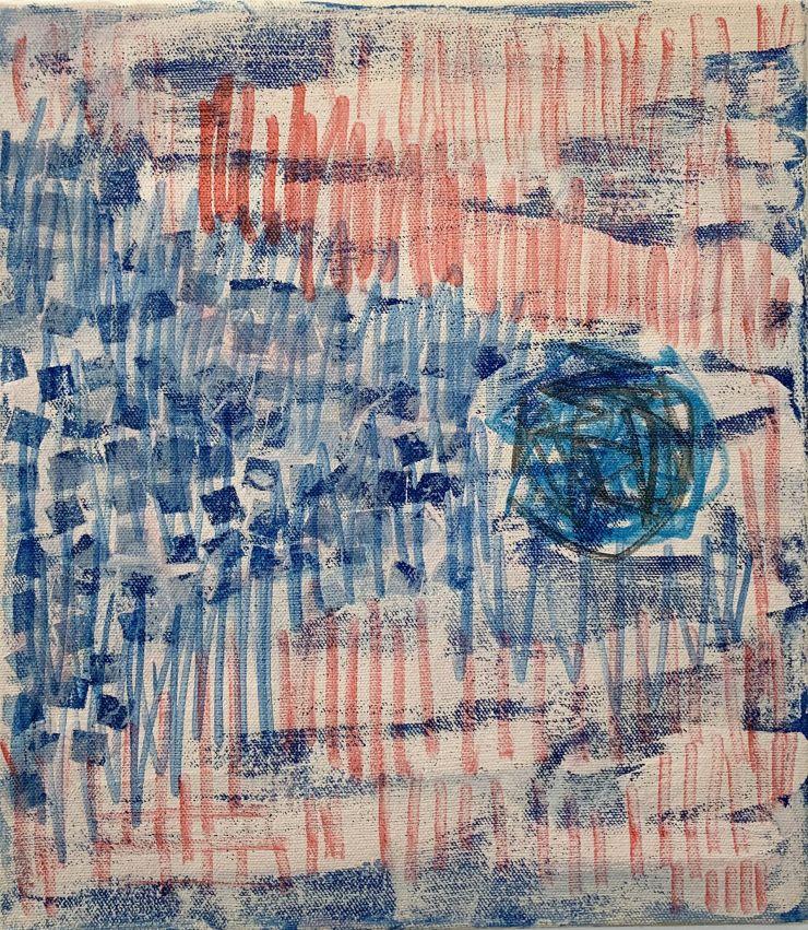 V_07 - acrylic, ink on canvas (37 x 42), 2020